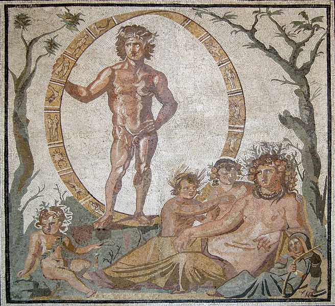 Aion, the god of eternity, with mother-earth goddess, Tellus, and her four children.